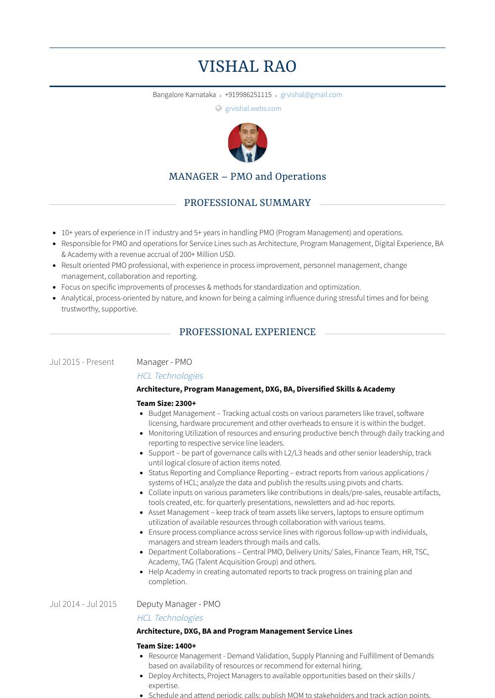 Deputy Manager - Resume Samples & Templates   VisualCV