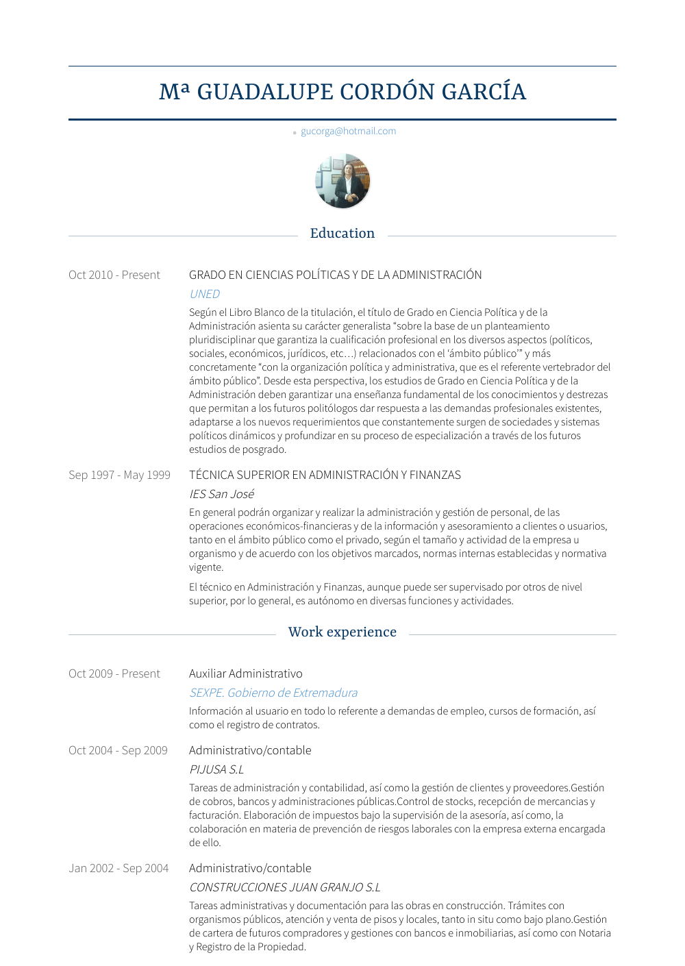 Auxiliar Administrativo Resume Sample