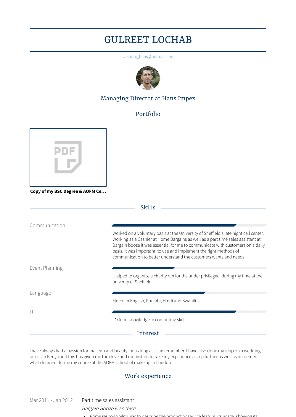 Part Time Resume Sample