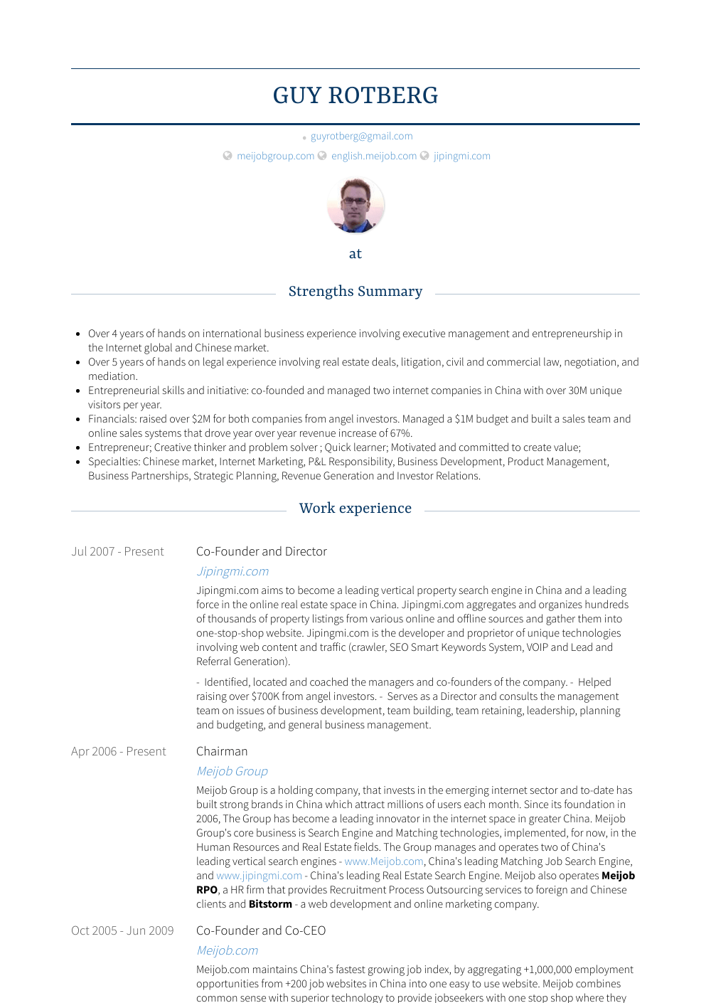 Co-founder And Director Resume Sample