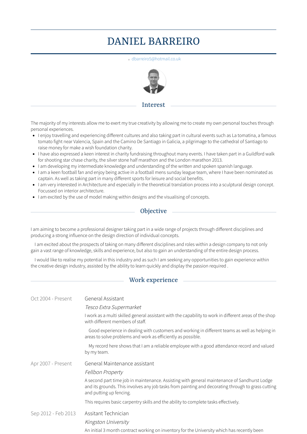 General Assistant Resume Sample