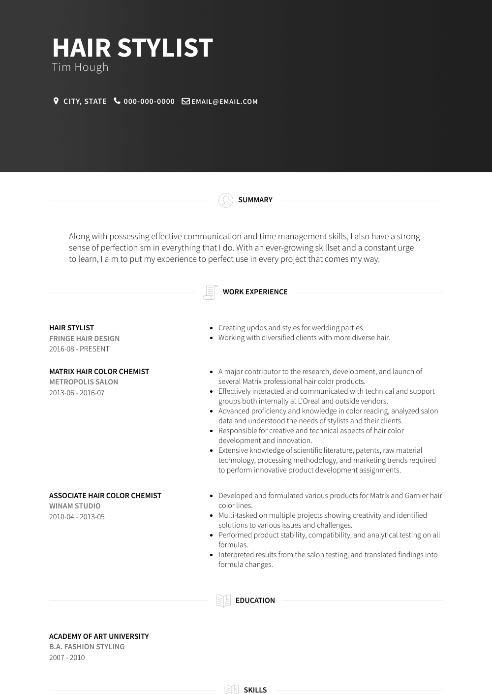 Hair Stylist Resume Sample and Template