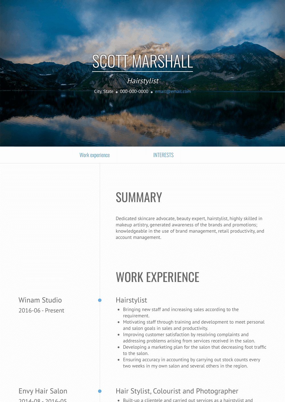 Independent Hair Stylist Resume Sample and Template