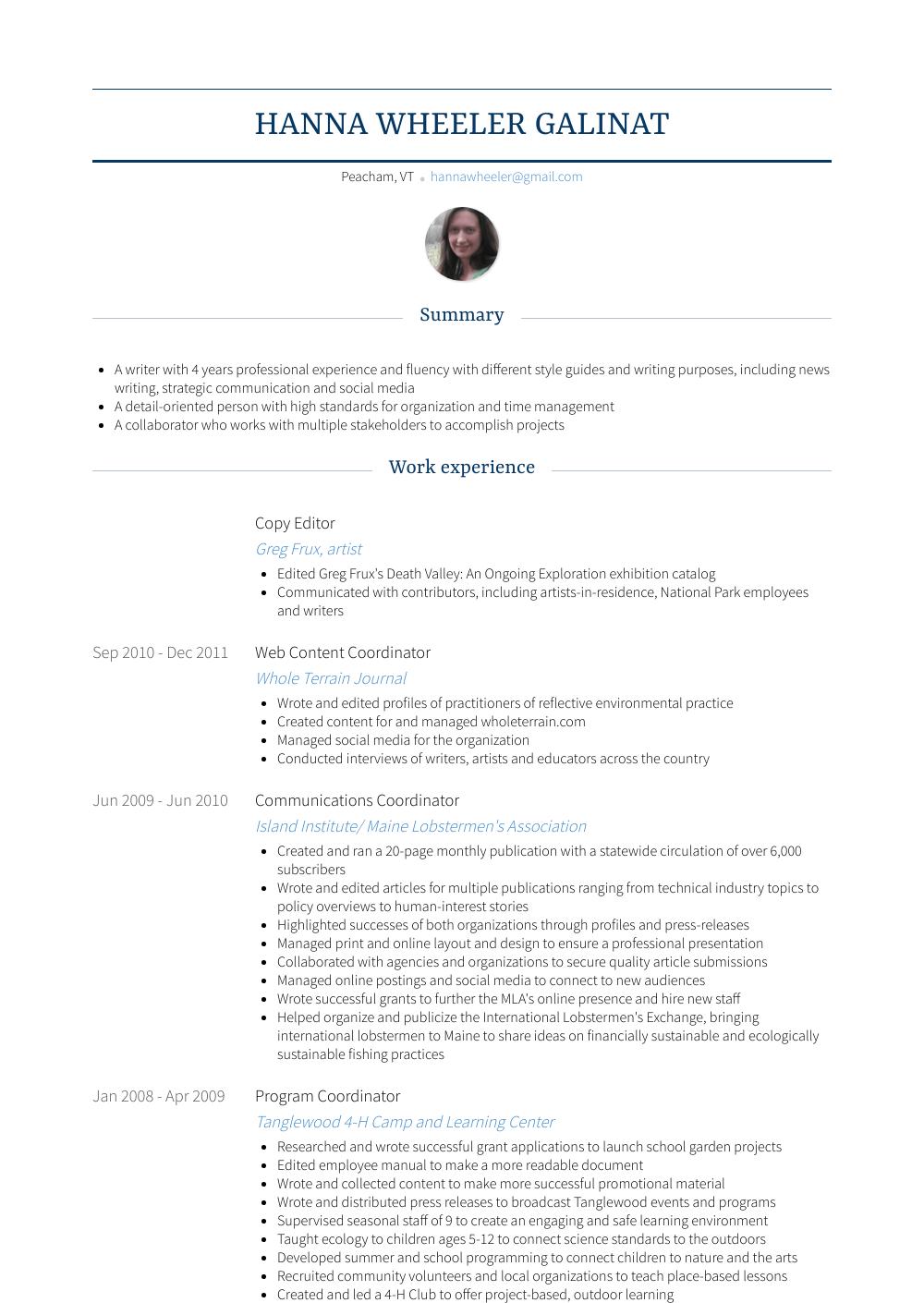 Copy Editor Resume Samples Templates Visualcv