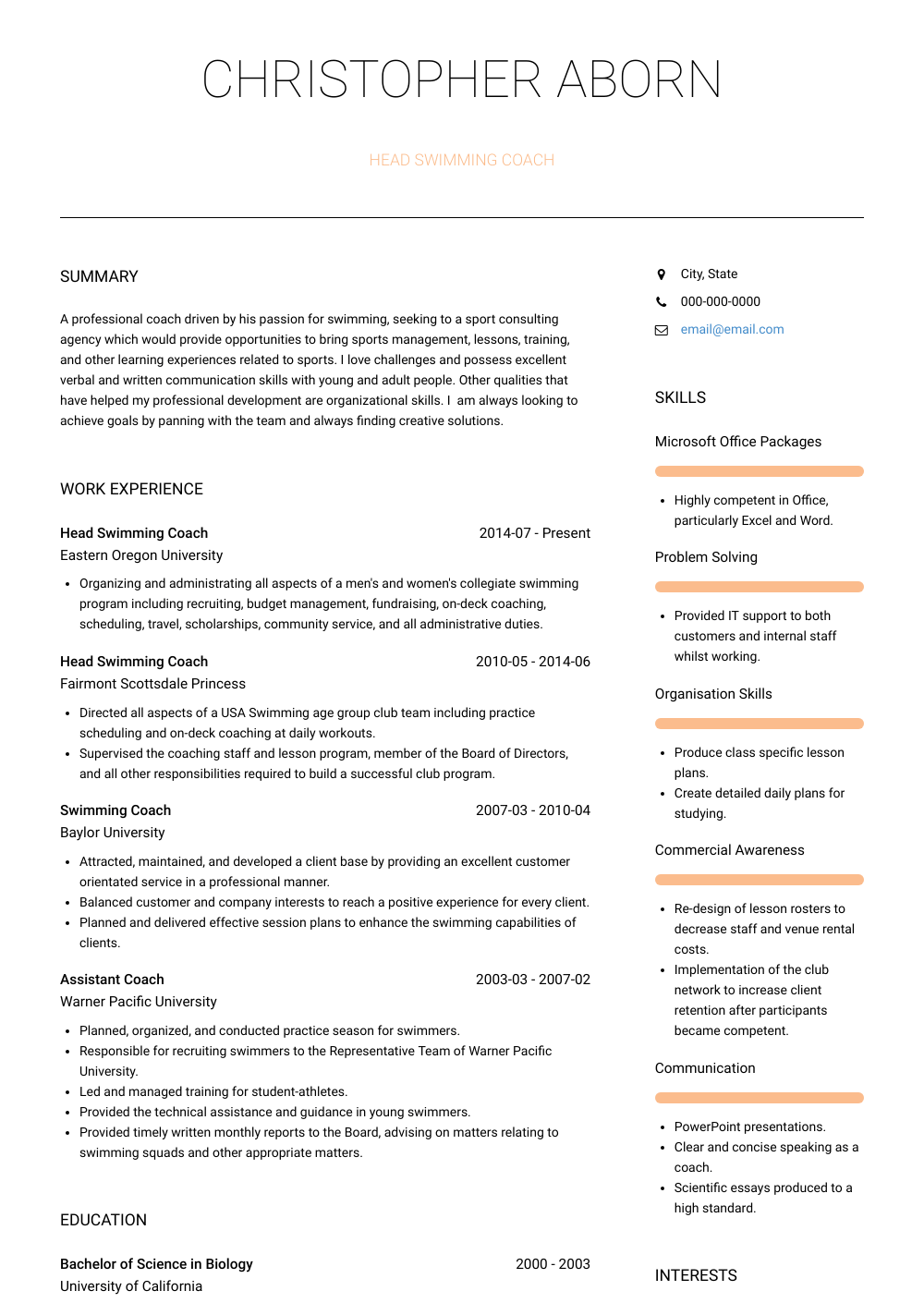 Head Swimming Coach Resume Sample and Template