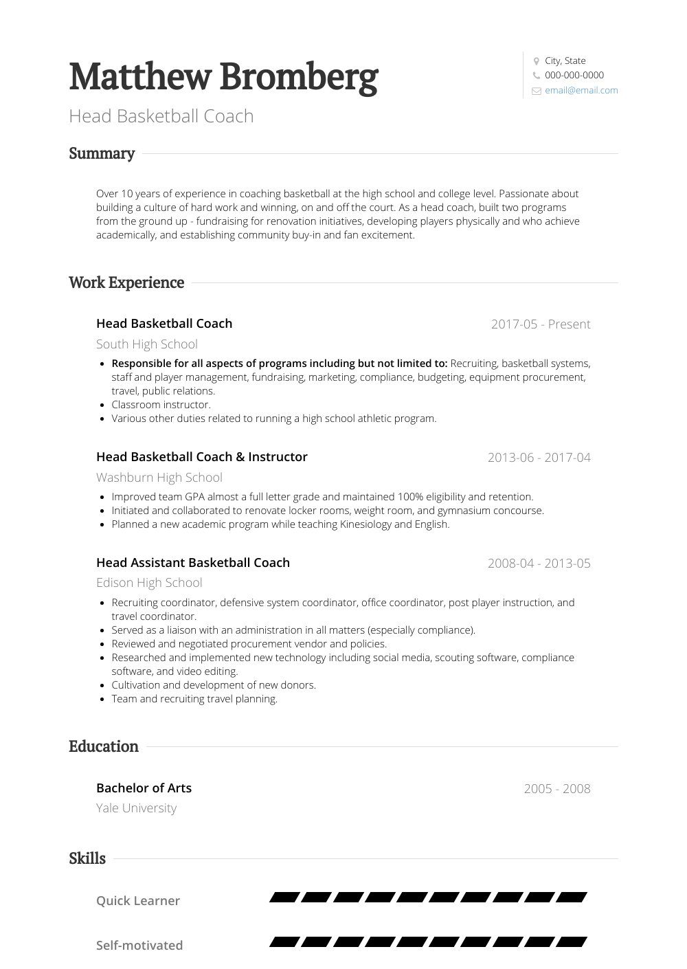 Head Basketball Coach Resume Sample and Template