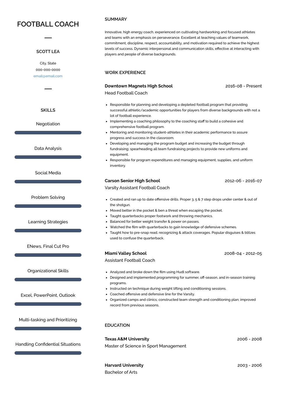 Football Coach Resume Sample and Template