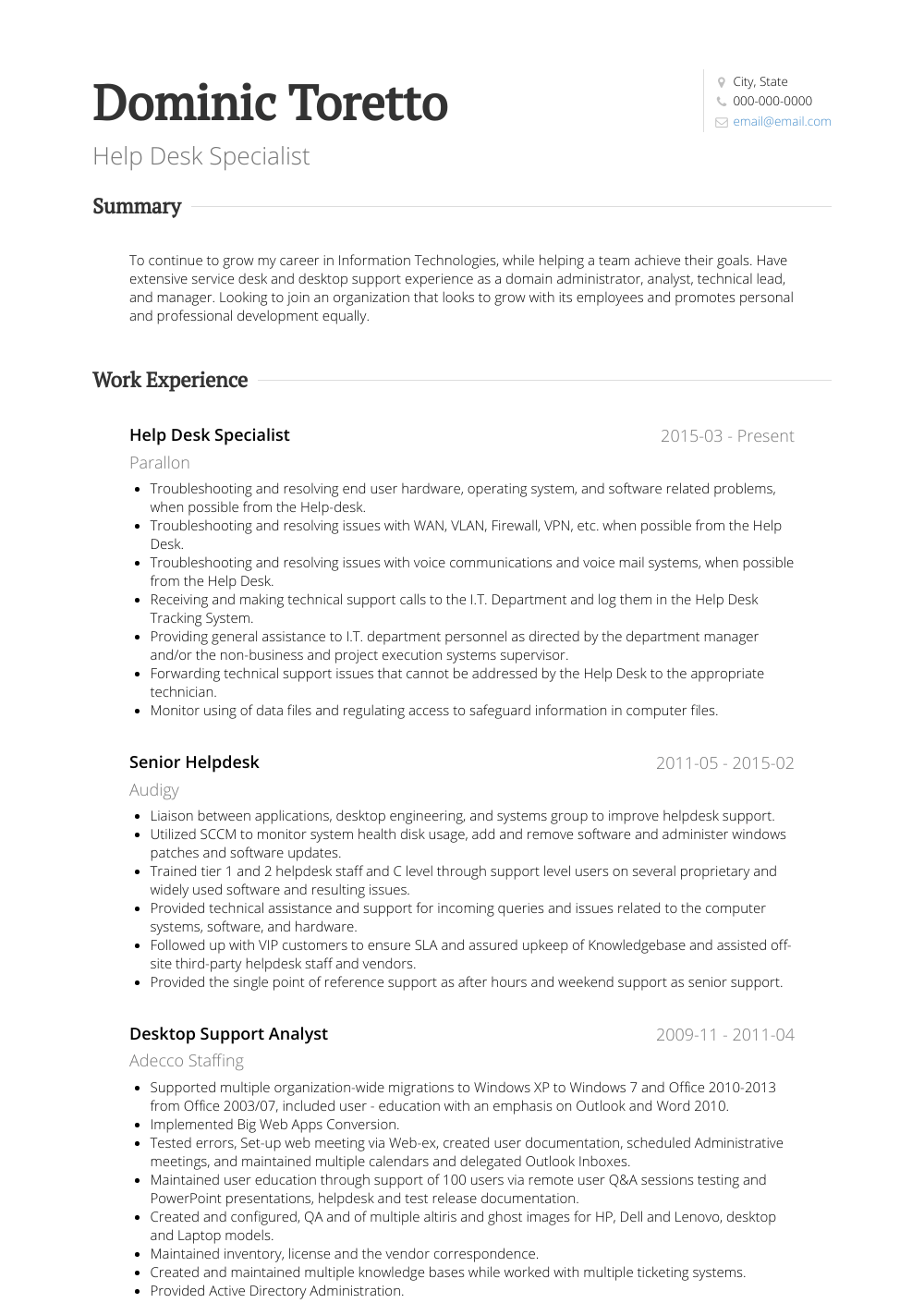 Help Desk Analyst