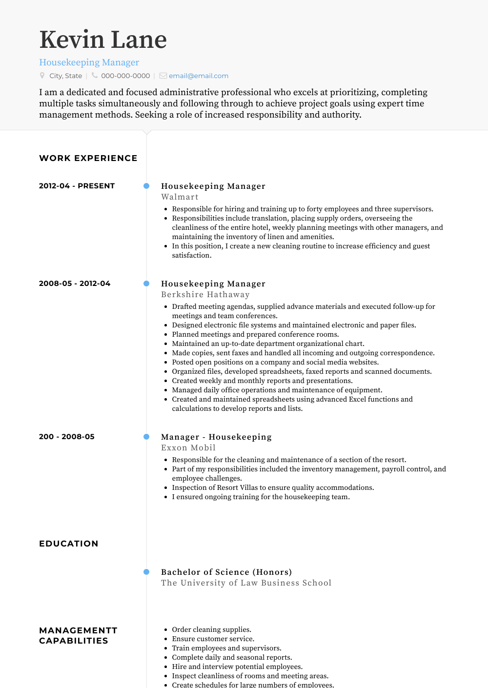 Housekeeping Manager Resume Sample and Template