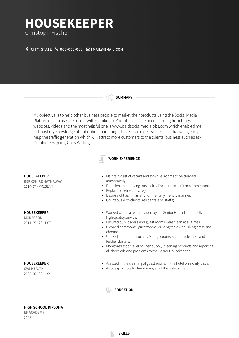 Housekeeper Resume Sample and Template