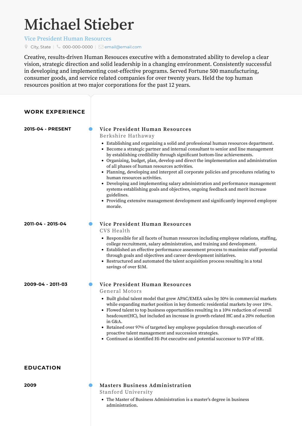Human Resources - Resume Samples & Templates | VisualCV