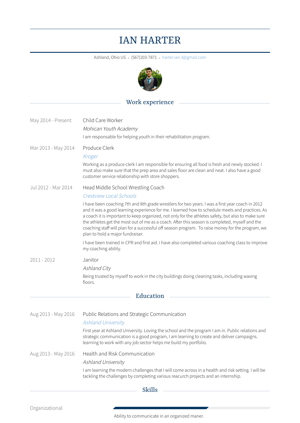 Child Care Worker Resume Sample