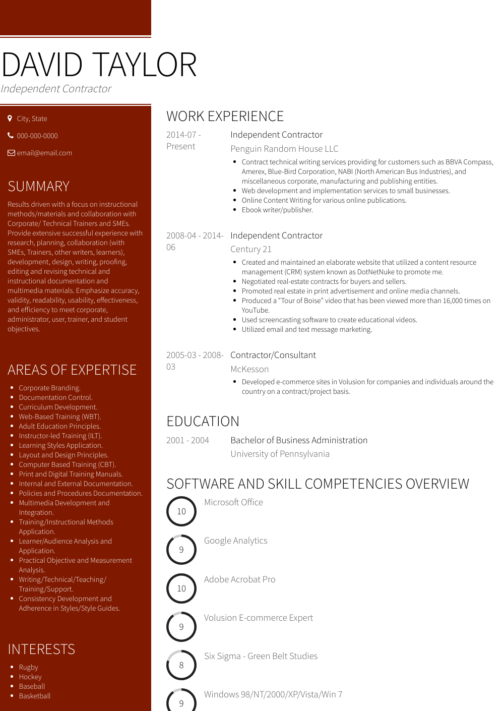 Independent Contractor Resume Sample and Template