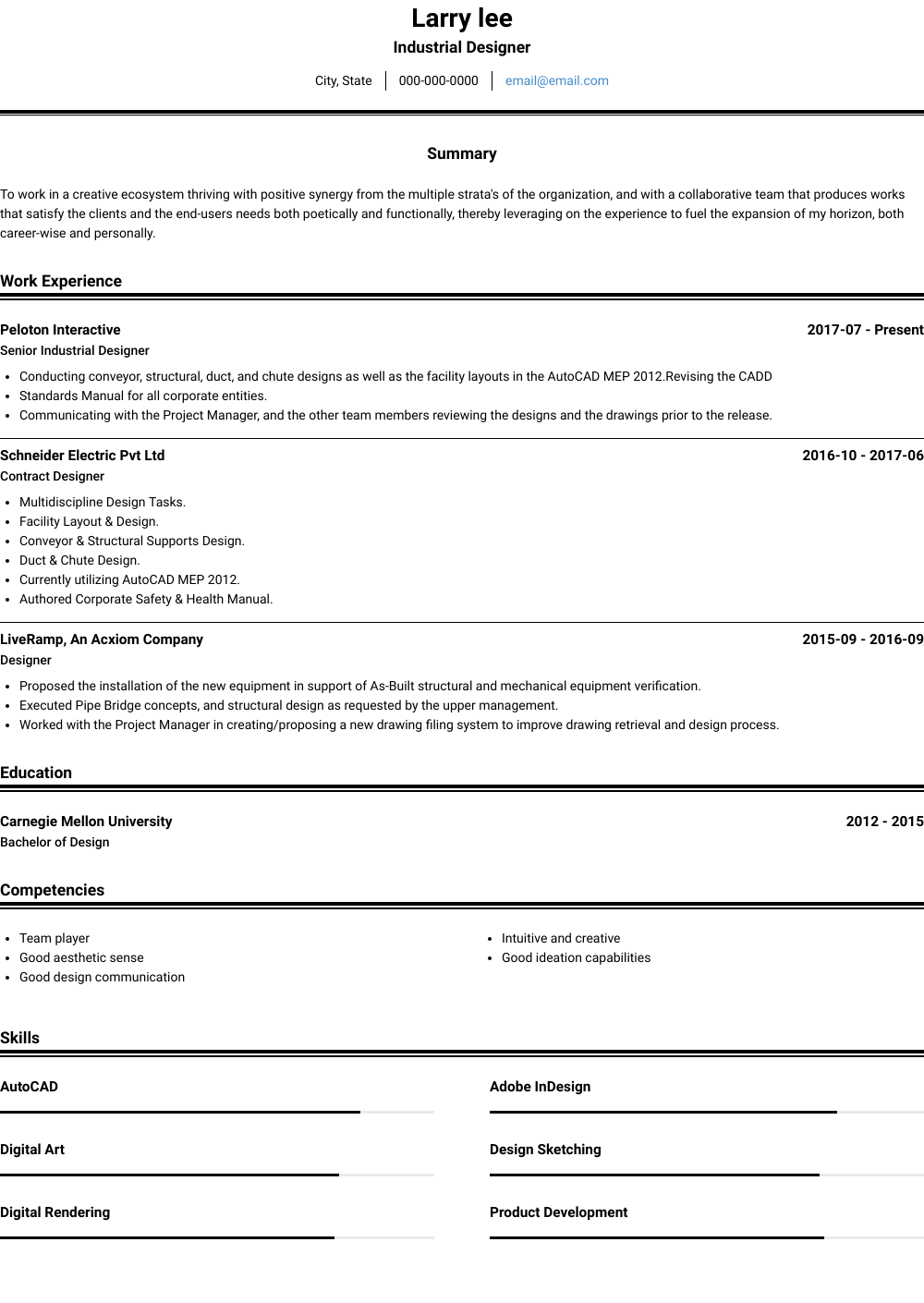 Industrial Designer Resume Sample
