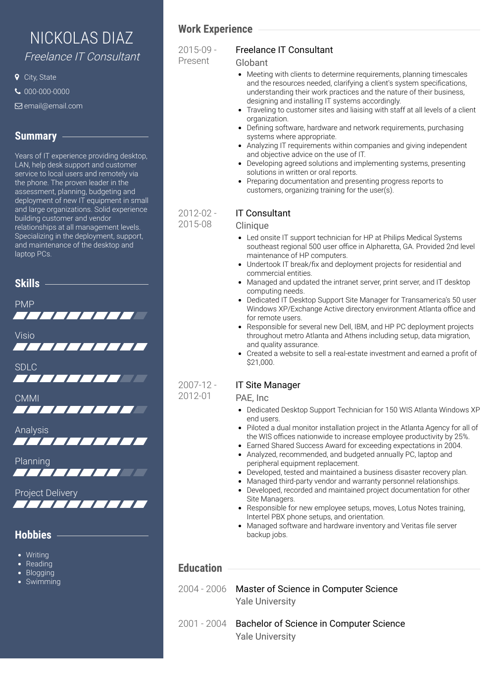 information technology consultant  resume samples and