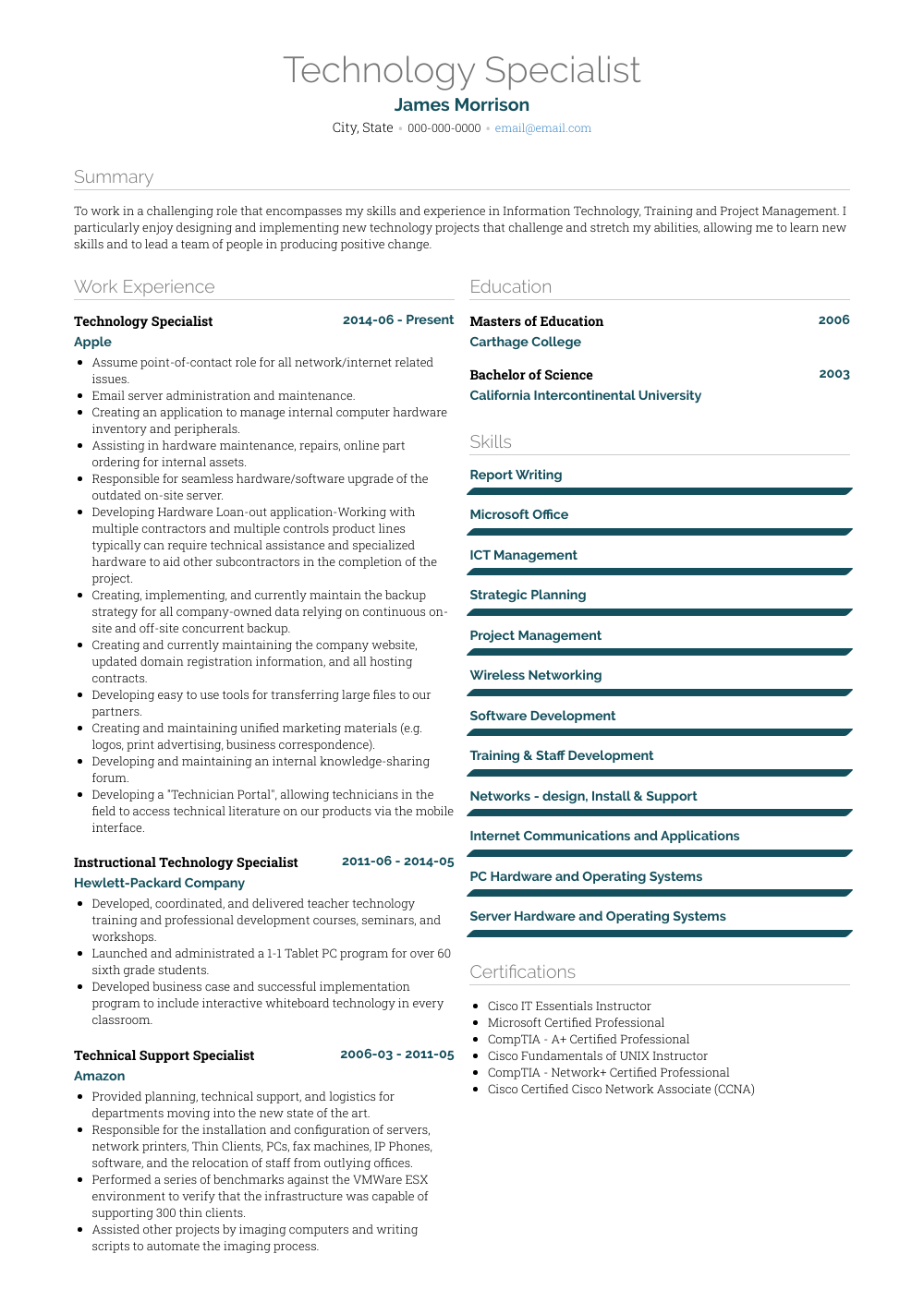 Information Technology Specialist Resume Sample