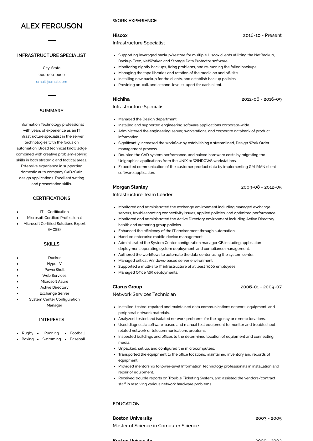 Infrastructure Specialist Resume Sample