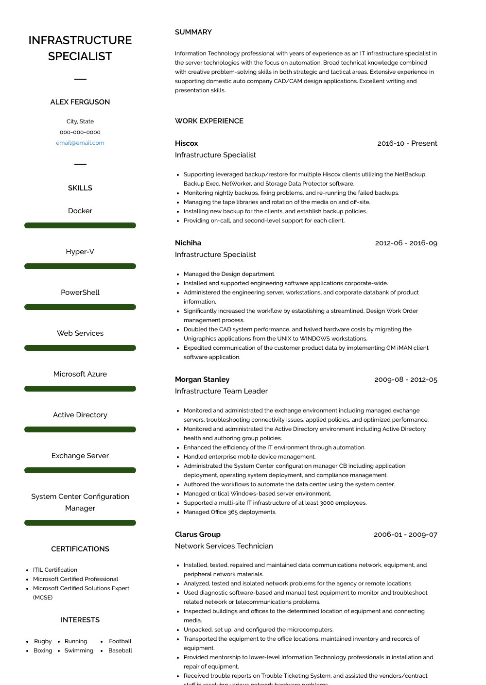 Infrastructure Specialist Resume Sample and Template