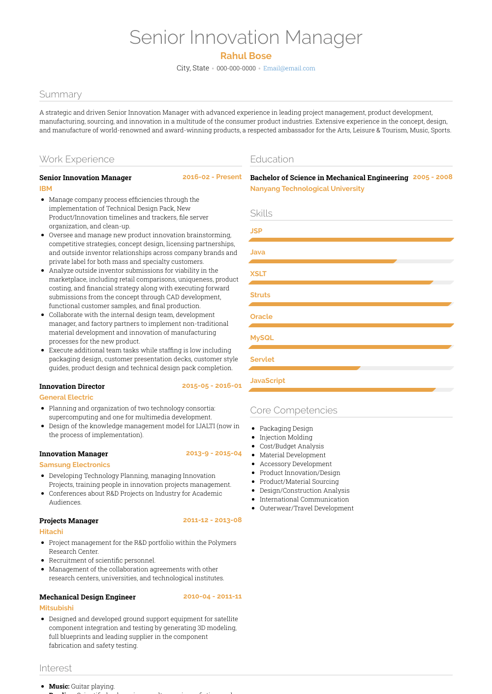 Innovation Manager  Resume Samples