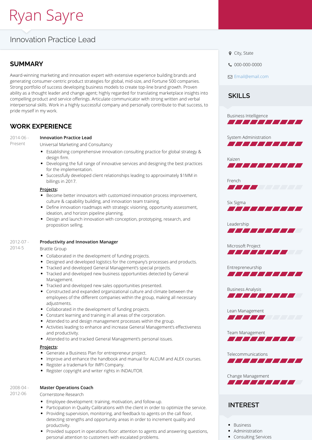 Innovation Practice Lead Resume Sample and Template