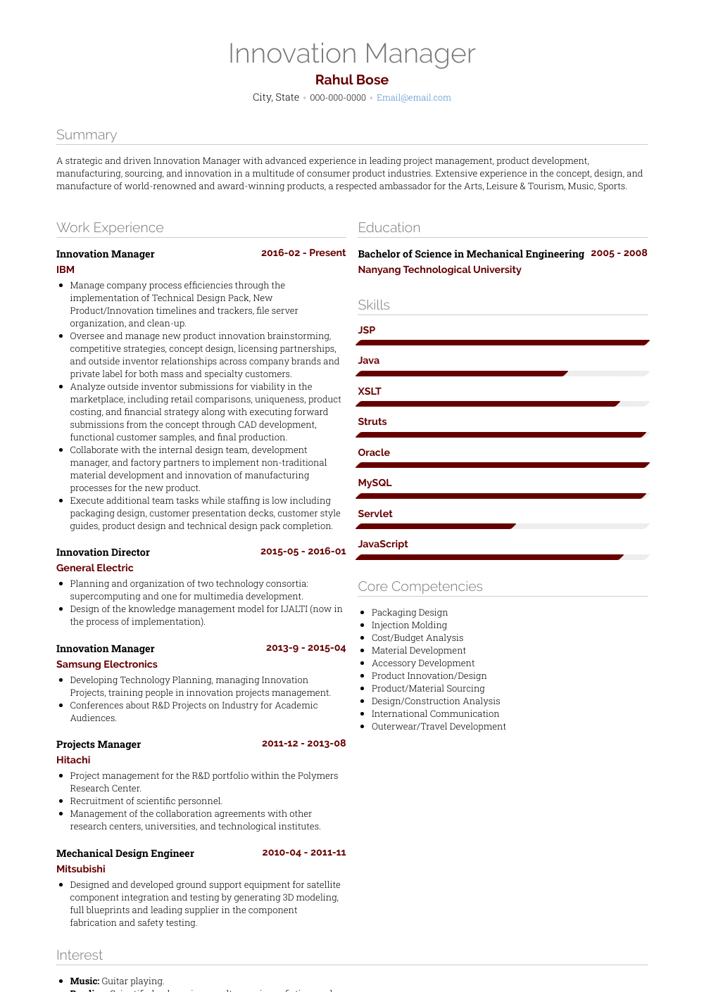 Innovation Manager Resume Sample and Template