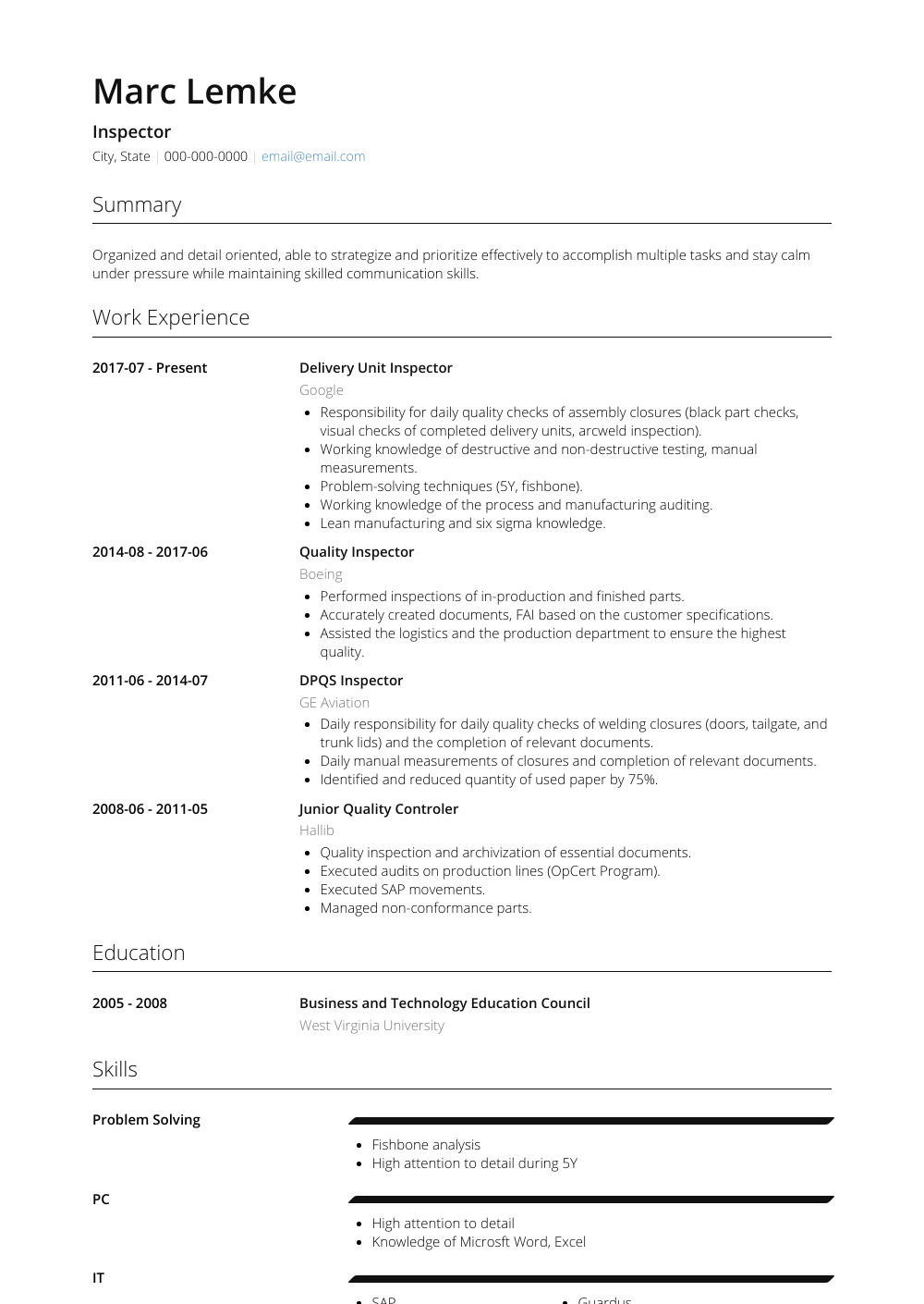 Inspector  Resume Samples  amp  Templates