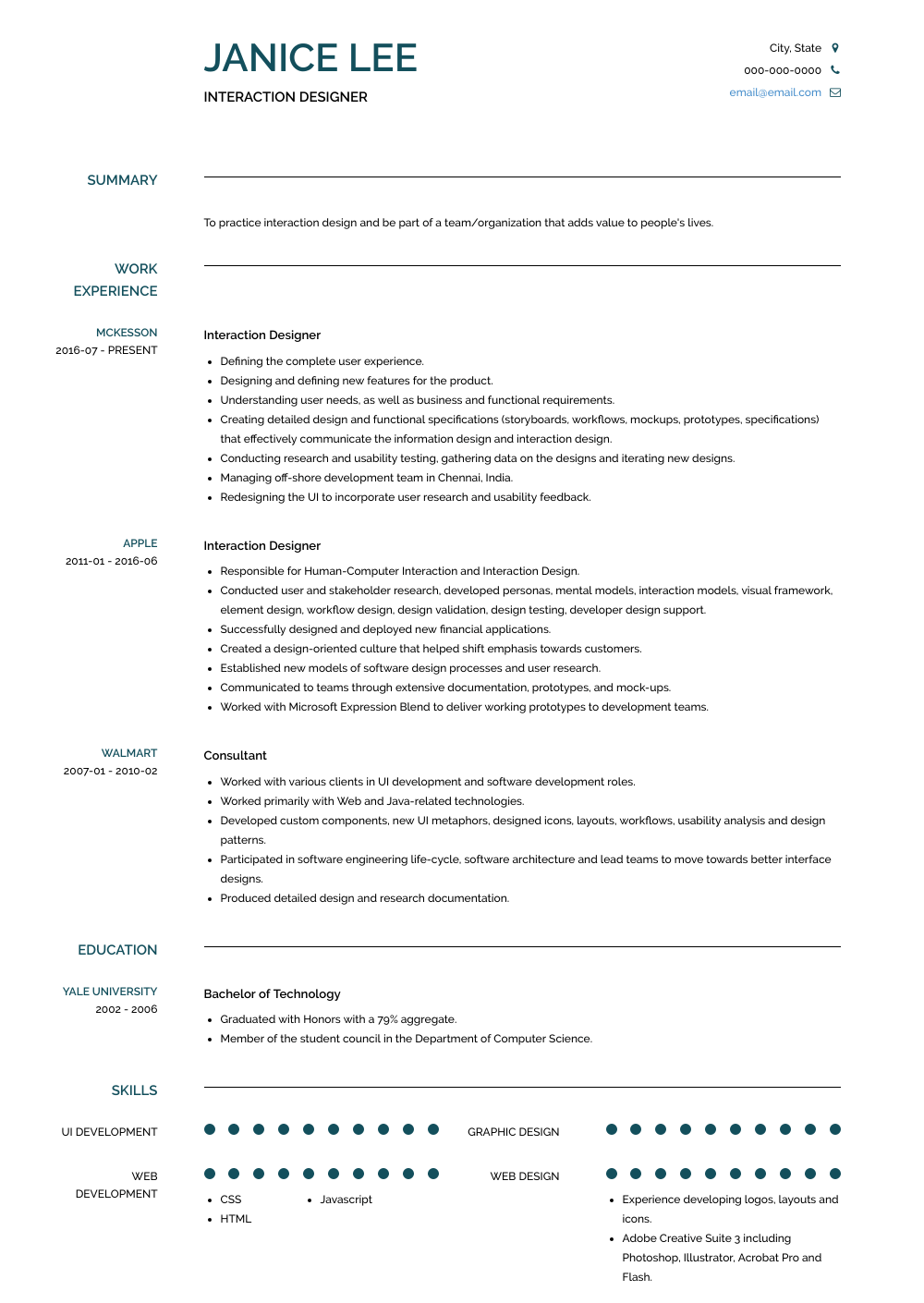 Interaction Designer Resume Sample