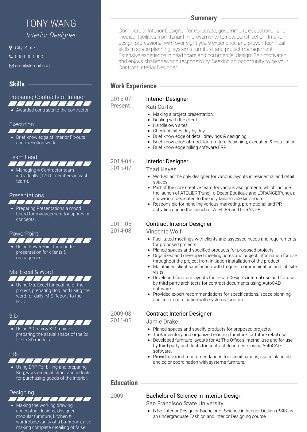 Interior Designer Resume Sample and Template