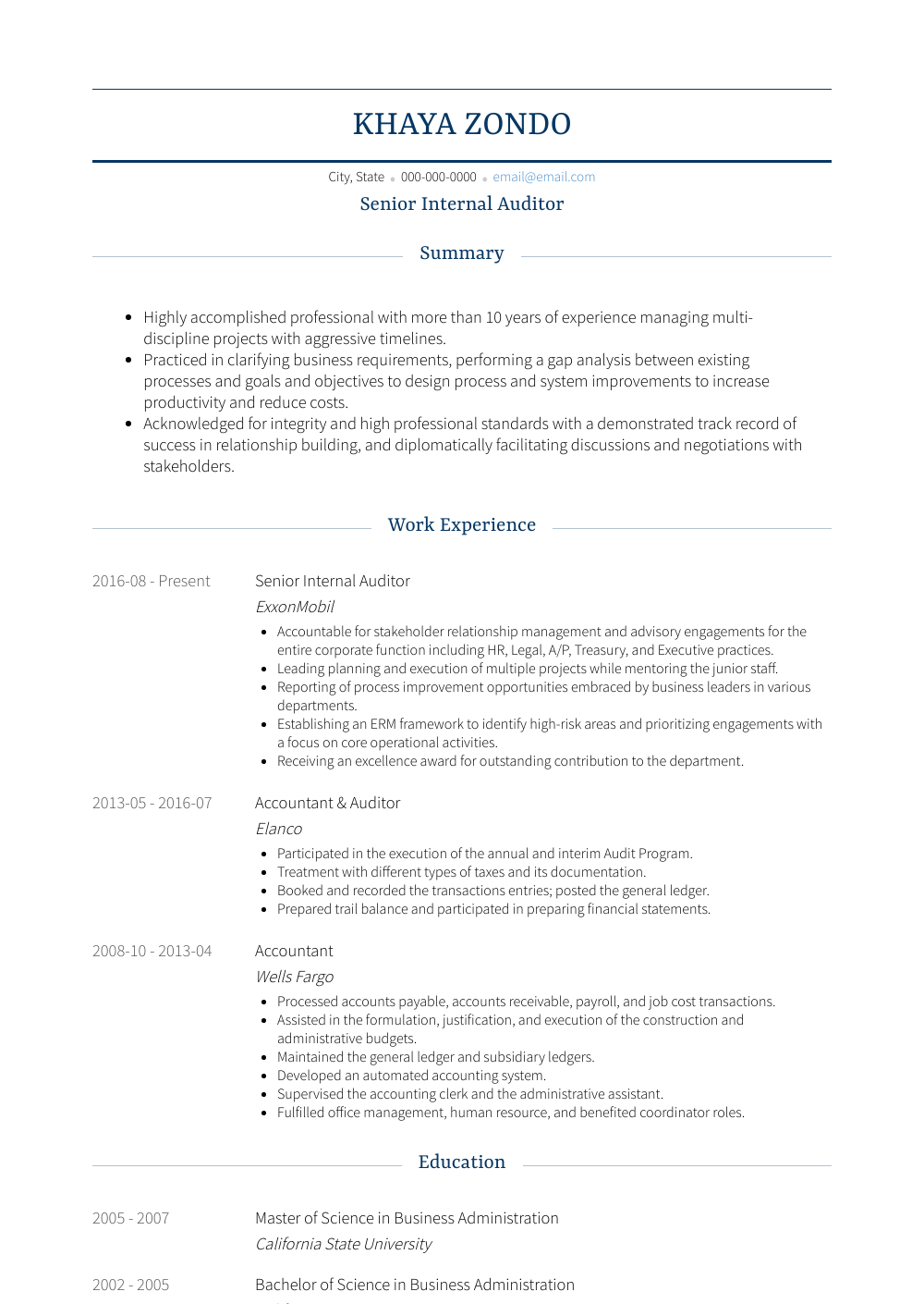 Senior Internal Auditor Resume Sample and Template