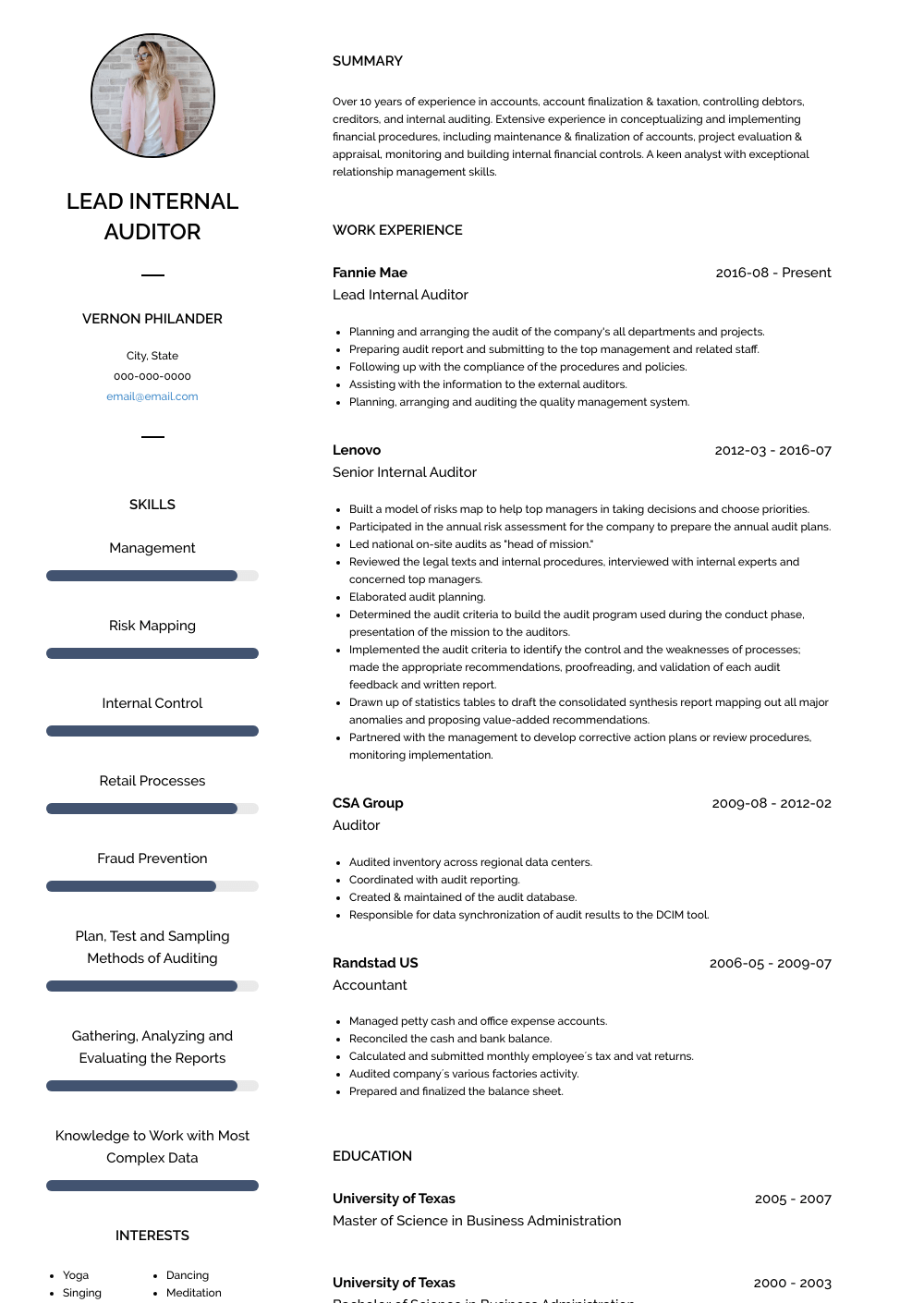 Lead Internal Auditor Resume Sample and Template