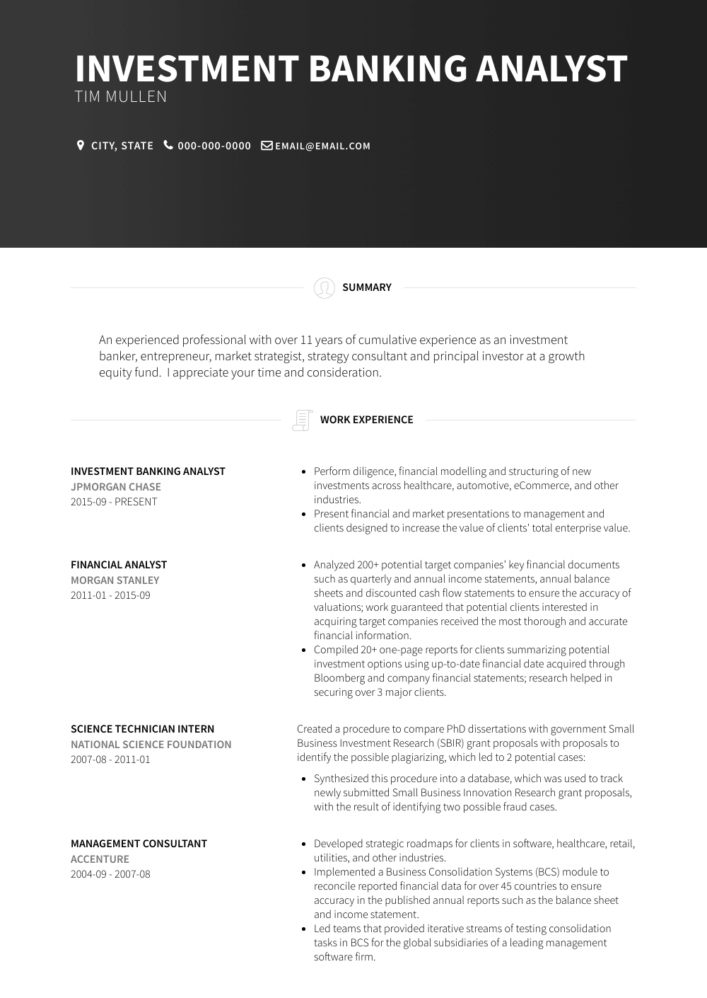 Investment Banking Analyst Resume Sample and Template