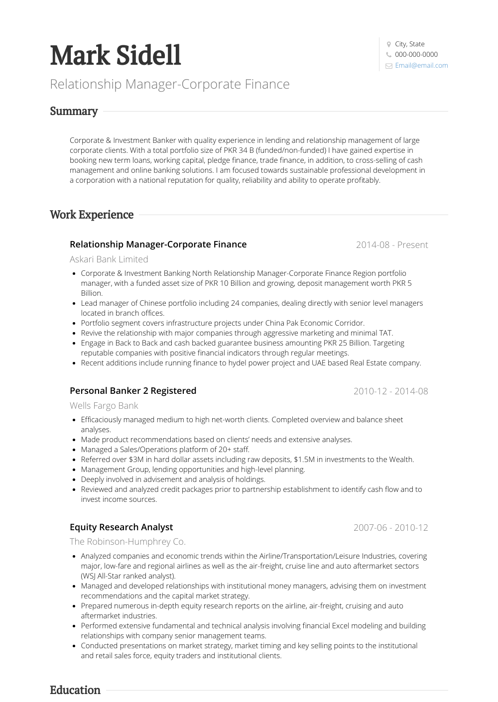 investment banking resume sample