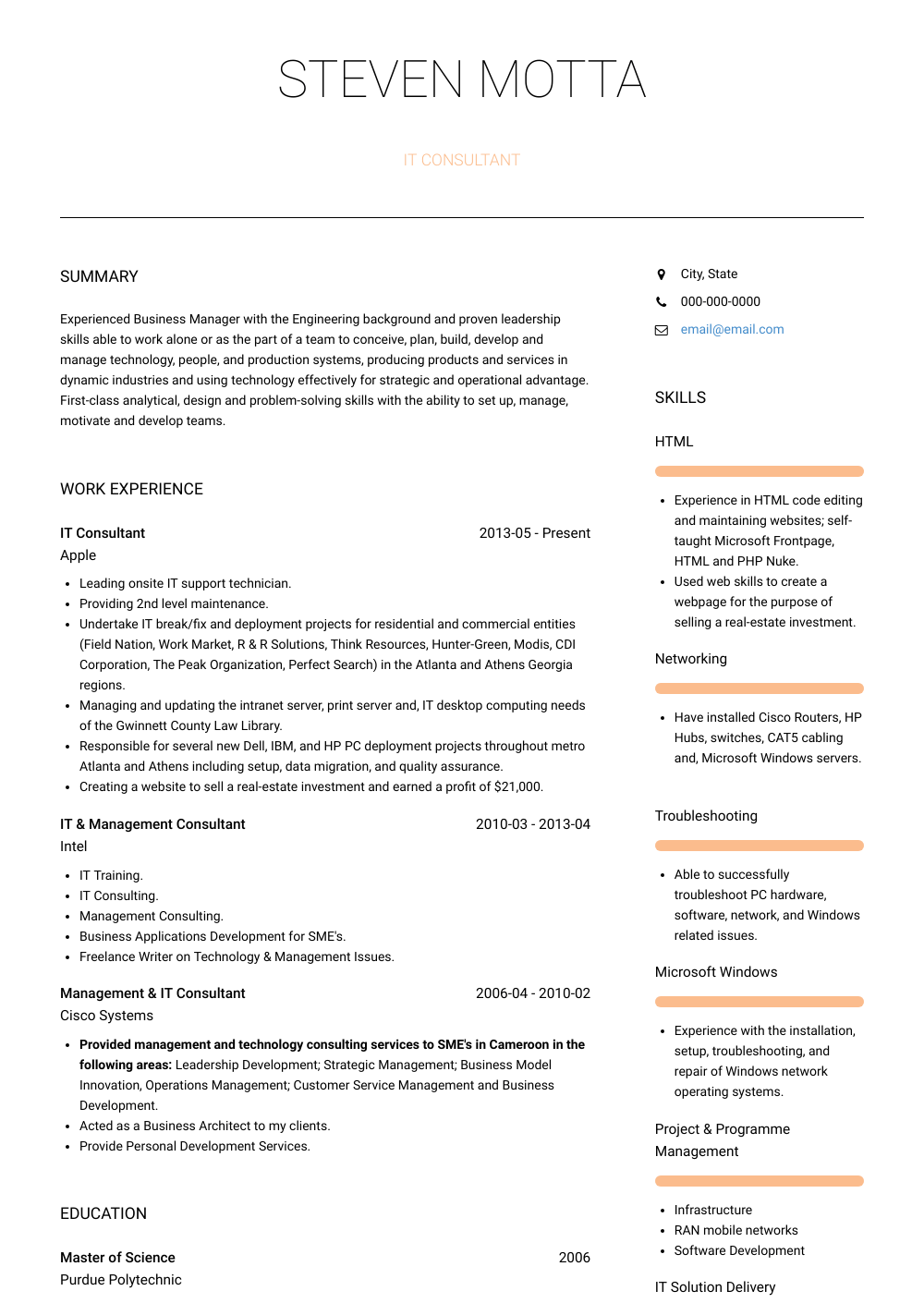 It Consultant  Resume Sample and Template