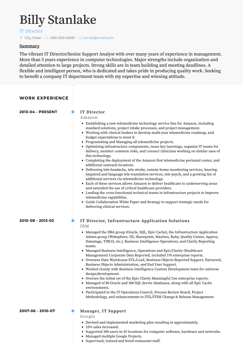 It Director Resume Sample
