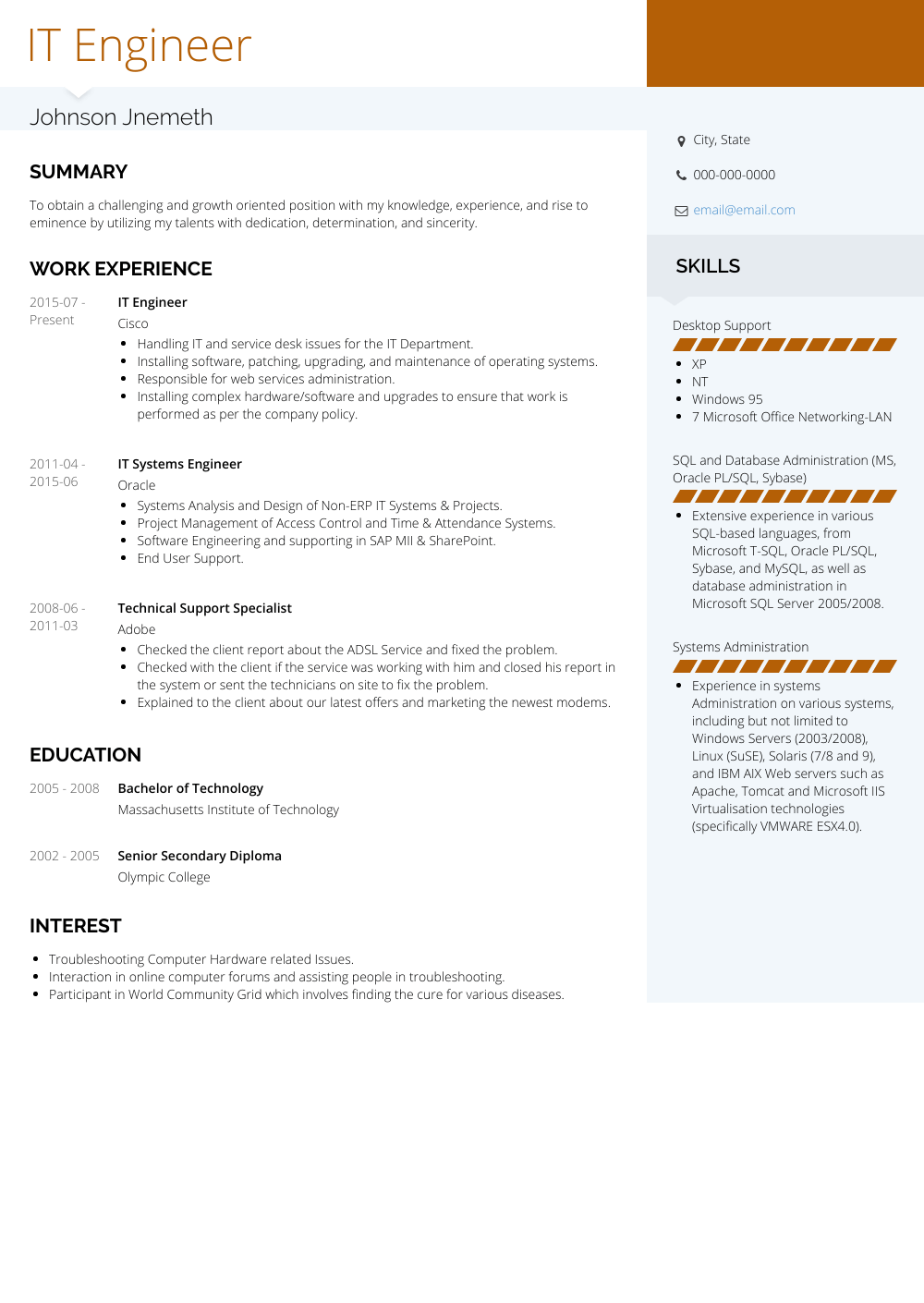 IT Engineer Resume Sample