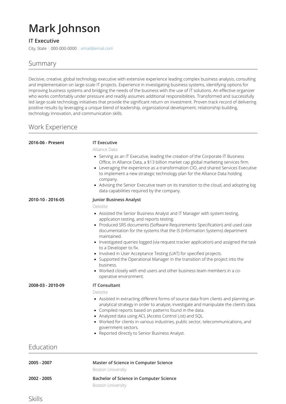 It Executive - Resume Samples & Templates   VisualCV