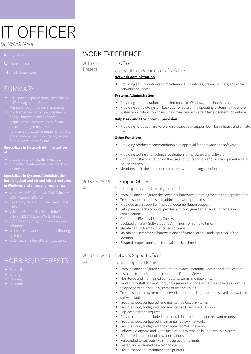 It Officer Resume Sample