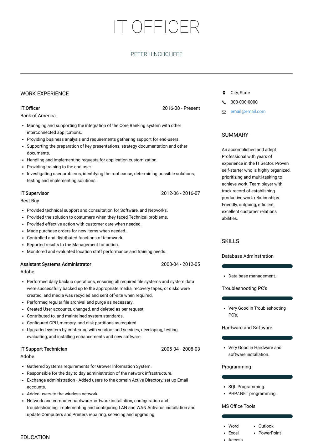 IT Officer Resume Sample and Template
