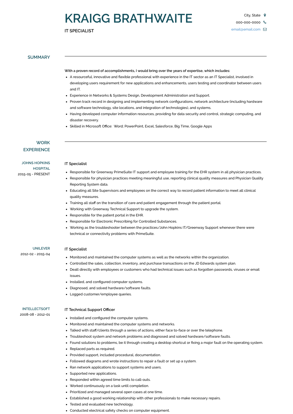 It Specialist Resume Sample and Template