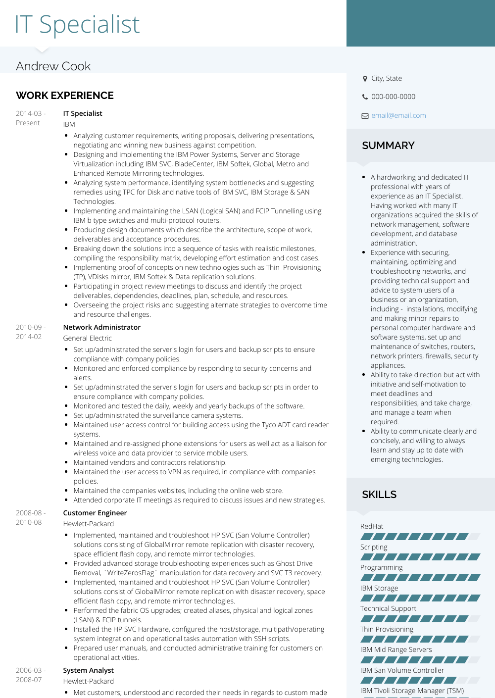 It Specialist Resume Sample