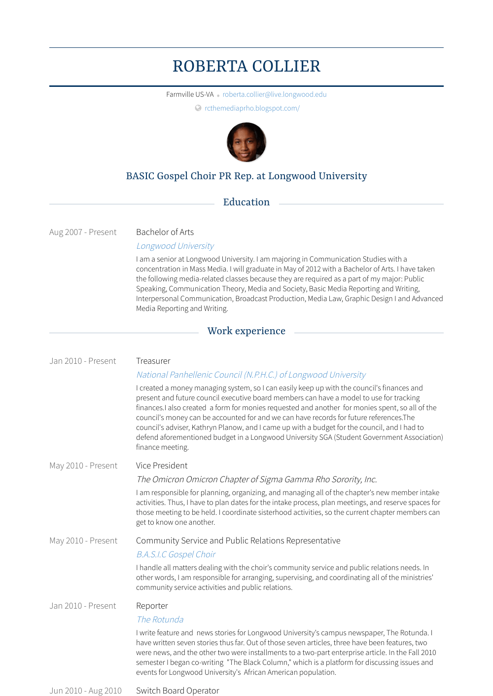 free real professional resume samples
