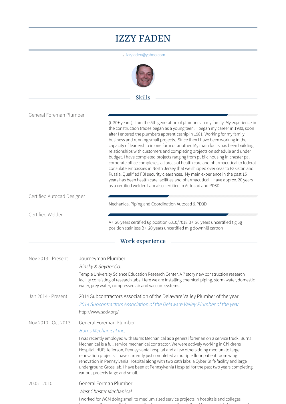 Plumber Resume Sample