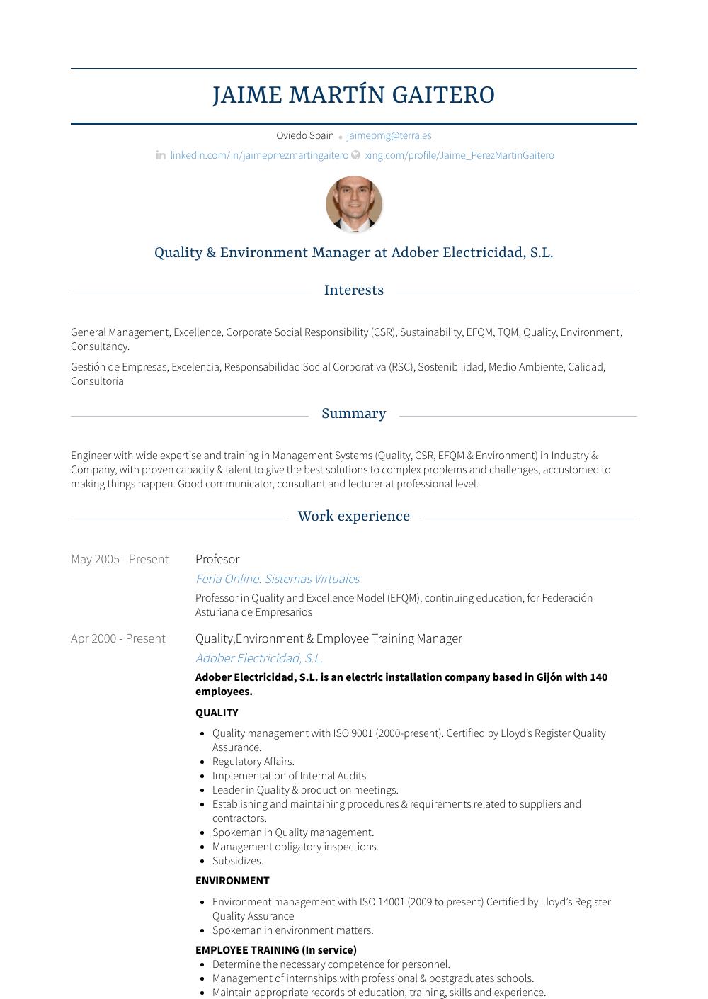 Profesor Resume Sample