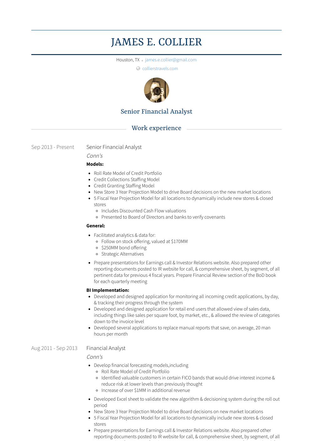 Senior Financial Analyst Resume Sample