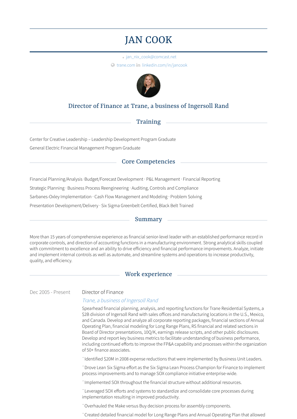 Director Of Finance - Resume Samples and Templates | VisualCV