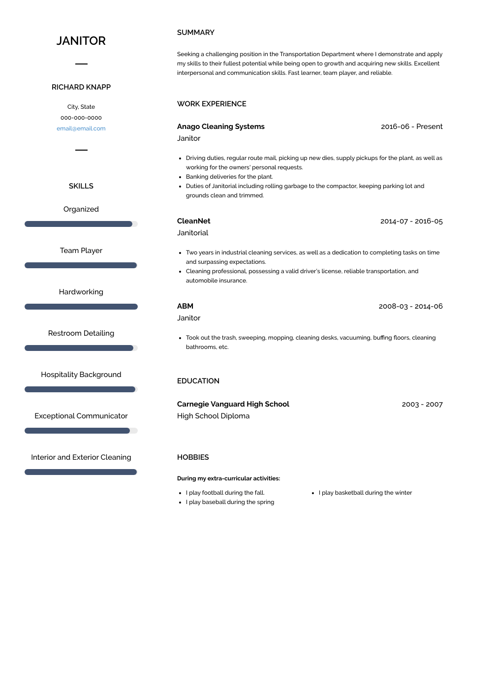 Janitor Resume Sample and Template