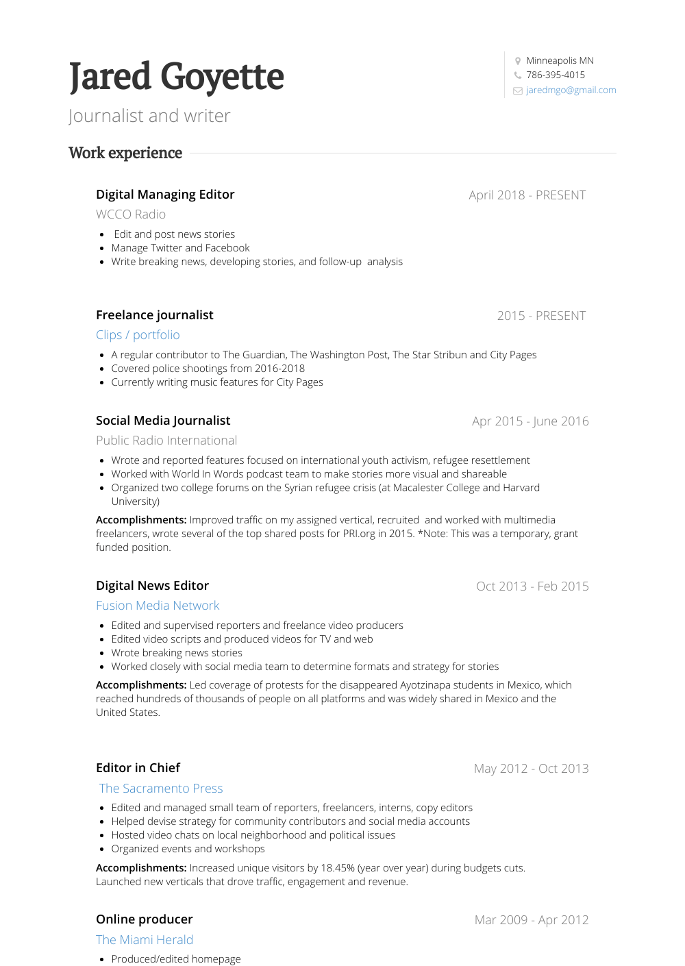 News Editor Resume Sample