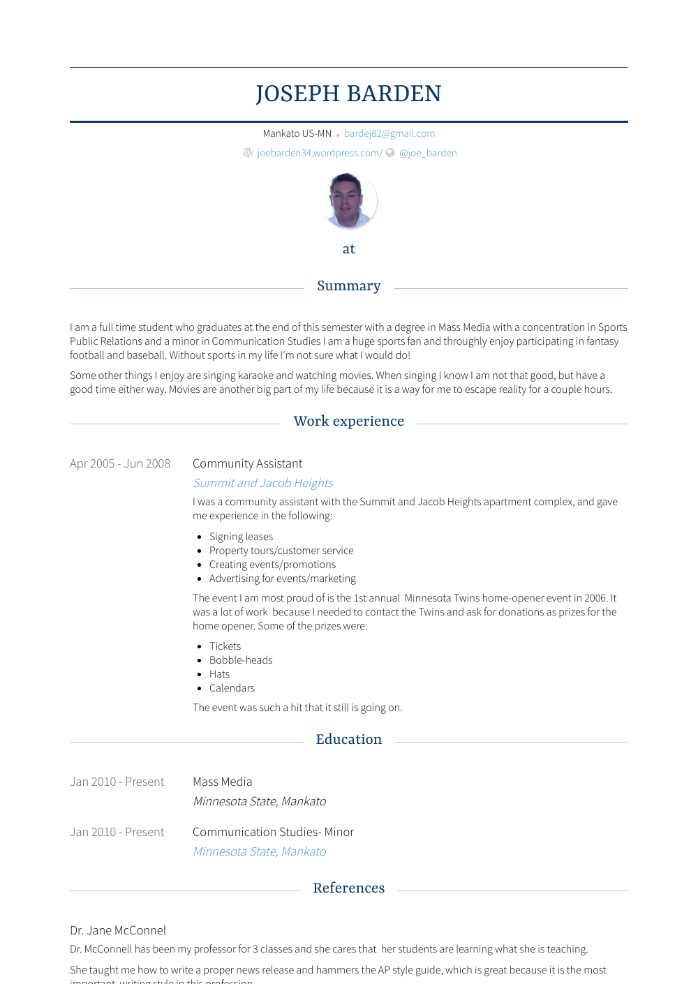 Community Assistant Resume Sample