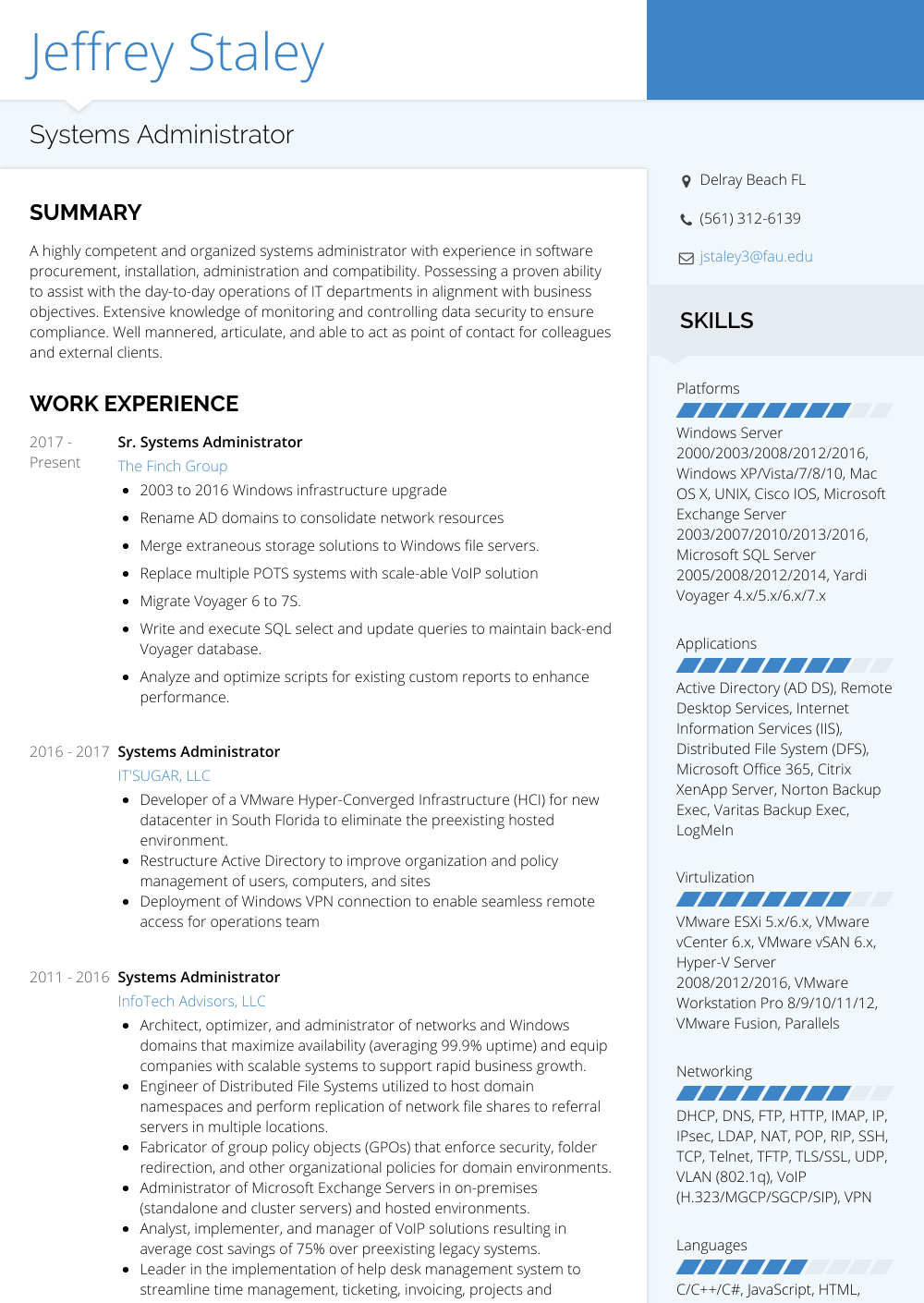 Systems Administrator - Resume Samples & Templates | VisualCV