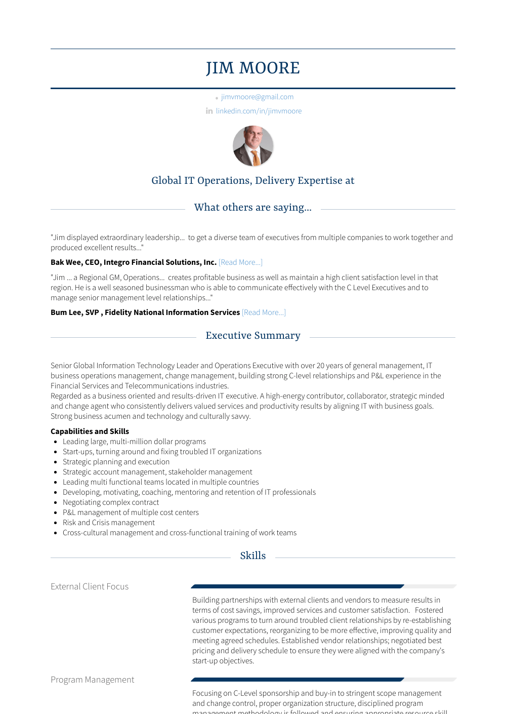 Executive Vice President, Chief Information Officer   Business Alignment Resume Sample and Template